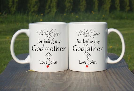 Godmother Gift Godson Gift Long Distance Gift: Godparents Gift-Christening Gift-Godparents Mugs-Christening