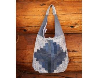 Patchwork denim bag, patchwork bag, patchwork shoulder bag, patchwork hobo bag, denim bag, denim tote, hobo tote, hobo bag, recycled denim