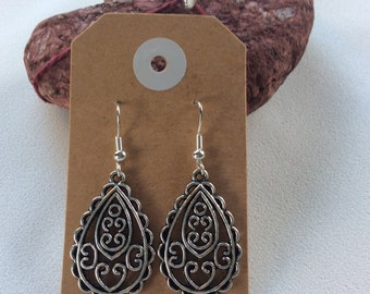 tibetan tear drop earrings hippy boho handmade jewellery