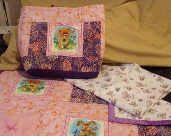 Welcome Home baby quilt/blanket/tote bag