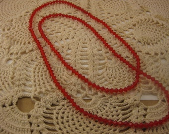 """Vintage Red Diamond Shaped Beaded Necklace 35"""" Long"""