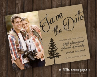 Personalized Printable Save-The-Date Wedding Invitation - Rustic Tree Silhouette