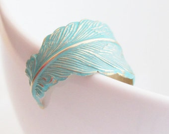 Turquoise Feather Ring, Adjustable Feather Ring, Hand Wrapped Ring, Turquoise Patina Ring, Feather Ring, Turquoise Ring, Mother's Day GIft