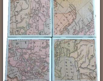 Ceramic Tile Coasters, Antique Map Coasters, Set of four coasters, Vintage Map Coasters, Heat and Water Resistant Coasters,Map Coasters