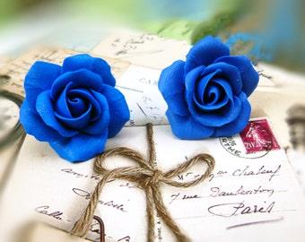 Blue earrings Flowers earrings Blue Stud Earrings Rose earrings Indigo earrings Cute earrings Gift for women Floral earrings Blue jewelry