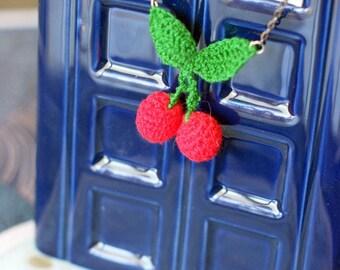 Crochet cherries necklace