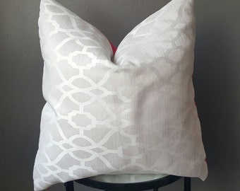 White Geometric Decorative Pillow- Pink linen/backing