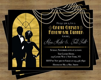 Great Gatsby Invitation; Rehearsal Dinner Invitation Printable; Engagement Party Invitation Printable; Black and Gold Invitations