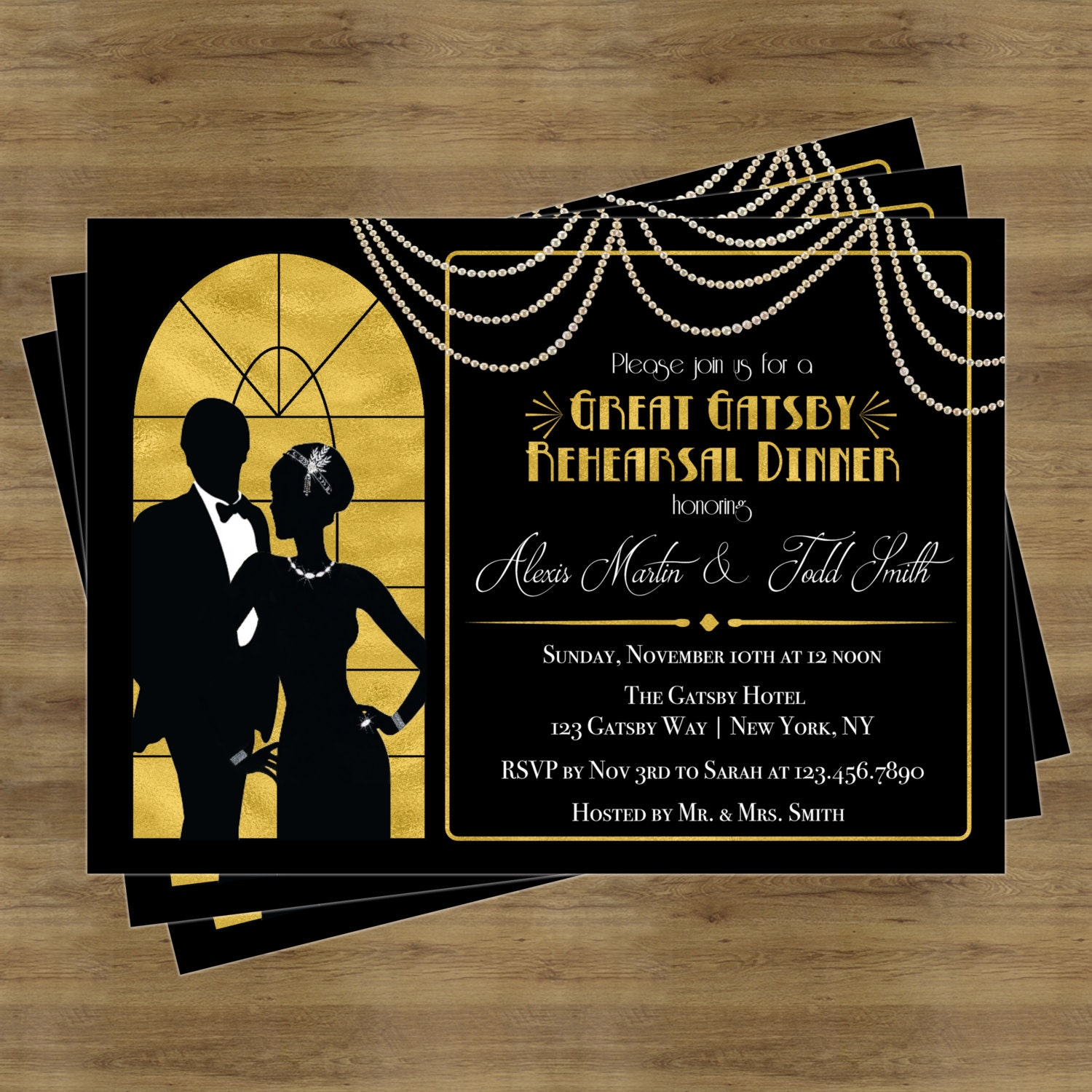 Gatsby Themed Wedding Invitations as luxury invitations example