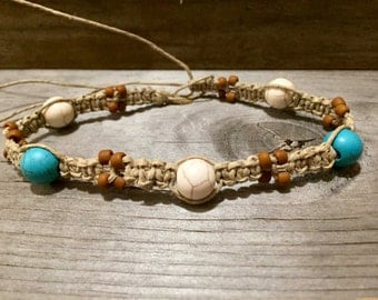 Women's Hemp Anklet with Terra Cotta, Blue and White Turquoise