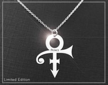"Prince Symbol Necklace With ""Prince"" Engraved, Limited Edition Prince Necklace, Prince Rogers Nelson"