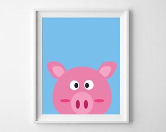 Pig Print | Animal Nursery Print | Nursery and Child's room decor | Digital Download