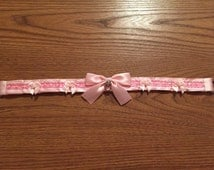 Pretty Pink Princess Collar Satin Lined, pet play, kitten play, bdsm, bondage proof, pleated, ddlg collar with free lock or charm!