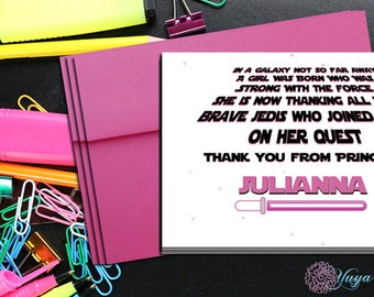 Star Wars Thank You Cards / Custom Girl Star Wars Stationery / Personalized Girl Star Wars Stationery Set / Girl Stationery / Set of 12