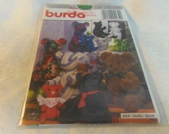 "Bear, Stuffed Soft Toy, 3 sizes, 8"", 12"", 15.75"", Uncut Pattern, Burda Craft 4234"