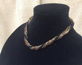 Marvella Twist Necklace Vintage Seed Bead Black Bronze Glass Bead