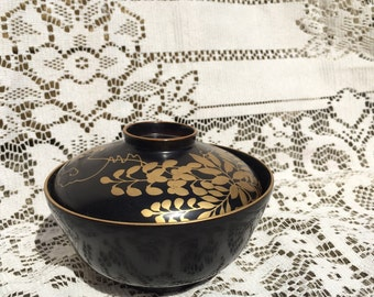 Vintage Black and Gold Japanese Rice Bowl