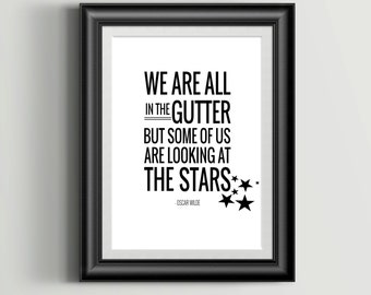 Some of Us are Looking at the Stars | Printable Book Quote | Oscar Wilde Literary Print | Printable Author Quote | INSTANT DOWNLOAD