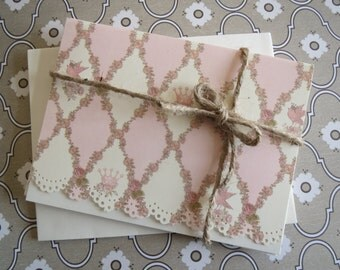 Set Of 4 Handmade Note Cards/Beautiful Pinks And Creams/Doily Lace Cut Edge.