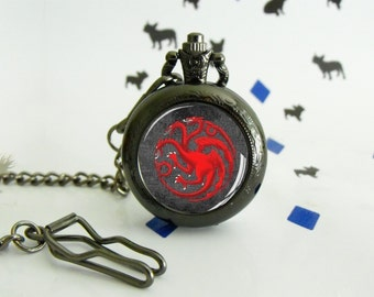 Targaryen - Pocket watch - Victorian Steampunk style - Glass cabochon - Special Easy gift