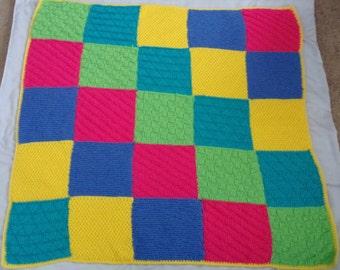 Hand-Knit Reversible Color Block Baby Blanket.