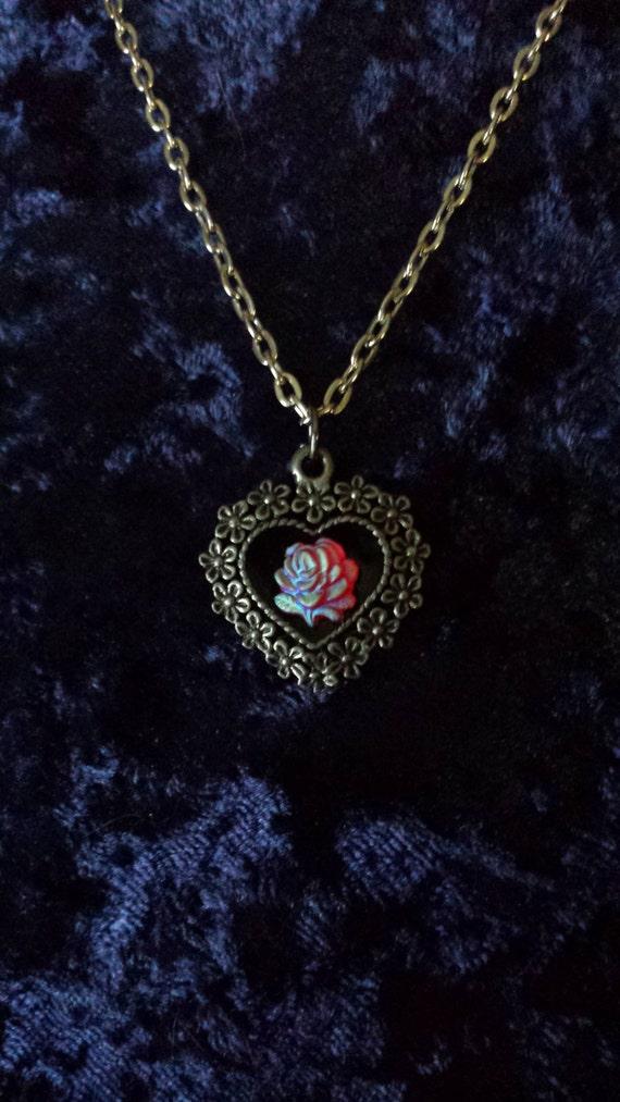 Frozen Rose Heart Necklace Flowers Frost Ice Winter Black Enamel Love Pendant 26 x 24 mm Antique Silver Heart Charm Magic Vintage Art Gift