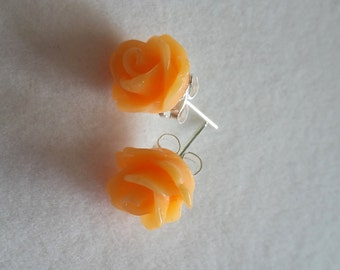 Orange Flower Resin Earrings