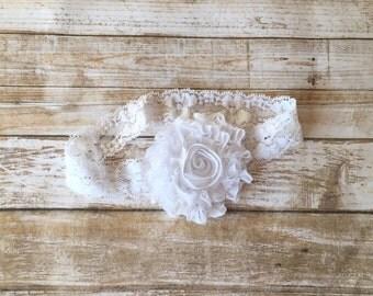 White Headband/White Baptism Headband/Lace Baptism Headband/Christening Headband/Flower Girl Headband/Baby Headband/Baby Girl Headband