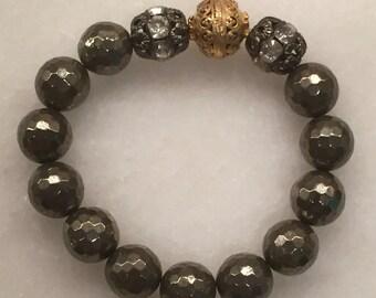 Facateted Hematite Beaded Bracelet