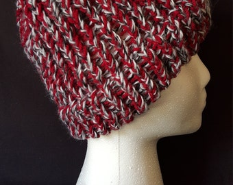Red, Black, White, and Grey Beanie