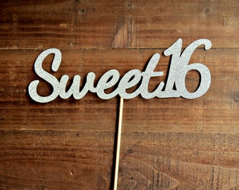 Sweet 16 Cake Topper. 16th Birthday Cake Topper. Sixteen Silver. Sixteen Gold. Sweet 16 Party Decorations. Sweet 16 Decor. Sweet 16.