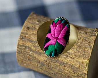 Unique Miao's Embroidery Lotus Ring