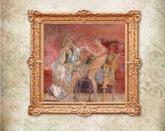 Print of fresco from Roman Villa ca. 40 BC , The ruler and his wife, heroic nudity.Decor Giclee Antique Matte Paper Canvas Classic Roman art