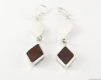 Rose wood silver Earrings