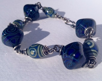 "Beaded bracelet ""Silk Rout"" - blue"
