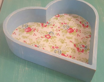 Shabby chic duck egg pale blue and floral heart shaped tray