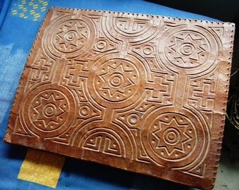 Ancient large desk pad in  leather from Morocco, bears blotter, african cafts
