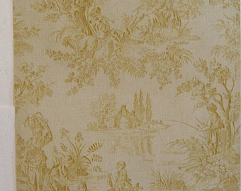 Beautiful Antique 19th C. French Scenic Toile Wallpaper (8926)