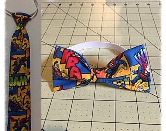 Superman Necktie, Superman Bowtie, Superman Tie for Boys, Superhero Bowtie, Superhero Necktie,