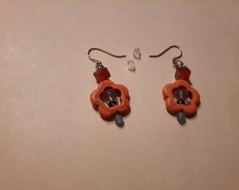 Orange Flower Dangle Gemstone Earrings