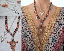 Antique silver cow head/ bull skull necklace, Southwestern Countrygirl Necklace, Boho Chic Rustic jewelry, Native American inspired necklace