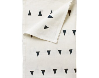 Jodhpur linen tea-towel, indigo on white