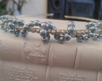 Pure White Pearl And Blue Beaded Headband, Silver plated. Weddings, Brides, Bridesmaids, Parties