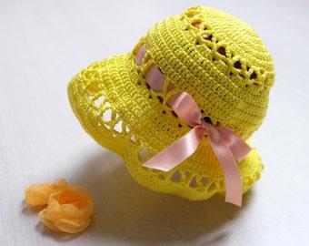 Crochet summer hat/ sun hat/ sunbonnet. Crochet yellow summer hat with ribbon and bow. Baby girls sun hat.