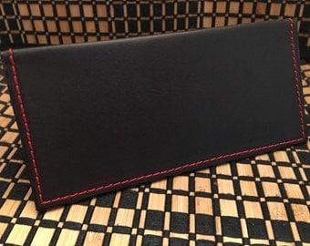 Dark Brown Leather Checkbook Cover