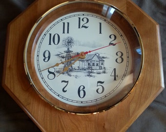 Handmade Wooden Country Kitchen Clock  / Wall Clock