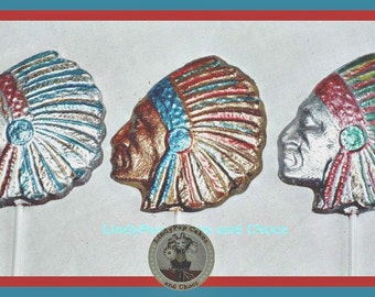 Indian Chief Chocolate Gift/Native American/Red Indian/Mens Edible Gift/Female/Cowboys/Sioux/Tribe/Birthday/Son/Husband/Dad/Lollipop/Western