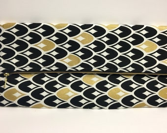 Black White and Gold Large Clutch Bag Purse