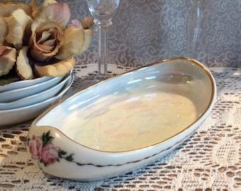 Antique 1923 Limoges Theodore Haviland France fine china Boat shape dish gold gilded