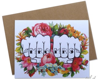Mr & Mrs - Knuckle Tattoo card